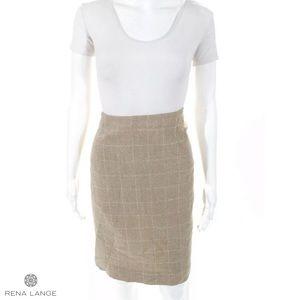 Rena Lange Skirts - RENA LANGE Beige/Wht Square Wool Blend Pencil
